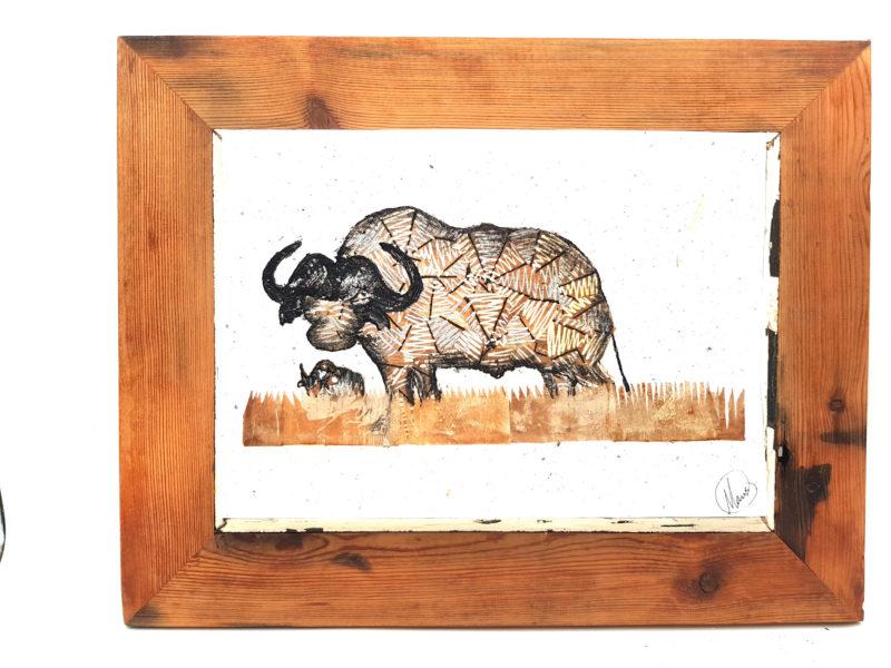 Handmade Paper Picture Buffalo