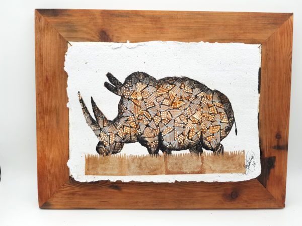Handmade Paper Picture Rhino